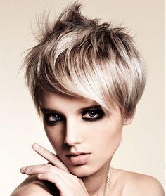 A medium blonde straight spikey coloured Modern Layered Womens haircut hairstyle by Hair Machine