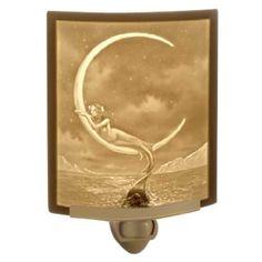 Porcelain Garden Lighting Mythical Mermaid and Moon Night Light   NR-114   Destination Lighting