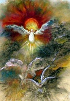 "Holy Spirit Art Print Framed and Signed, ""Spirit Rising"" Spiritual Religious Healing Art From The Original Oil Painting by Marina Petro Angel Wings Wall Art, Angel Art, Catholic Art, Religious Art, Art Prophétique, Image Jesus, Animal Symbolism, Saint Esprit, Prophetic Art"