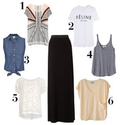 What to pair with a black maxi skirt
