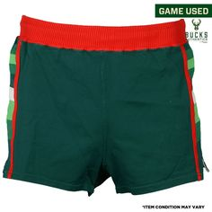 de1b34c120 Milwaukee Bucks Fanatics Authentic Game-Used Green and Red Shorts from the  1981-84 Seasons