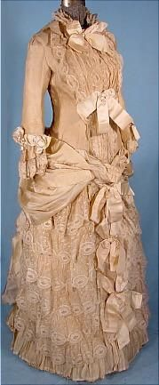 c. 1883 STERN BROS. Wedding Gown of Cream Grenadine and Lace with Satin Ribbons. Front
