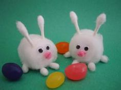 Here's what you need  • Cotton balls  • 3 Q Tips  • Small google eyes  • Tiny piece of pink pipe cleaner, paper, or craft foam (for the nose)  • glue  • Kitchen scissors  1. First prepare bunny's ears and feet. Cut 2 Q tips a  bit longer than the swab part, these will be bunny ears. Cut other Q Tip to make 4 feet, cut them right where the swab part starts.  Put glue on  ends of  long Q Tips and glue them in place on  cotton ball to make bunny feet.ake the bunny's feet.   Glue on eyes and…