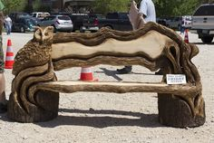 Chainsaw carved bench - 10th Annual Carving in the Ozarks Festival in Historic Eureka Springs, Arkansas