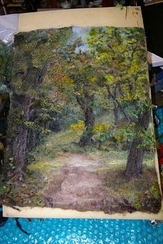 Felt Inspiration: Latest Finished Felt Landscape by Diane Christian This is amazing! Such talent and patience! Needle Felted Animals, Felt Animals, Nuno Felting, Needle Felting, Felt Pictures, Wool Art, Landscape Quilts, Felting Tutorials, Boro