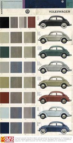 Palheta de cores do Volkswagen Fusca.