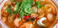 Tom Yum Soup - The traditional spicy Thai soup, served with chicken or shrimp # Thai Spicy Thai Soup, Thai Shrimp Soup, Tasty Thai, Seafood Soup, Spicy Shrimp, Prawn Soup, Food Shrimp, Thai Recipes, Seafood Recipes