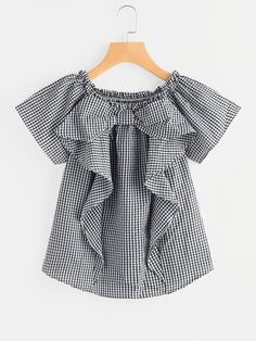 SheIn offers Frill Trim Gingham Blouse & more to fit your fashionable needs. Sewing Clothes Women, Girls Fashion Clothes, Kids Fashion, Fashion Outfits, Clothes For Women, Fashion Tv, Retro Fashion, Korean Fashion, Style Fashion