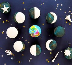 Budding star gazers, bake your way through the moon cycle with our tasty chocolate cupcakes. Arrange them in the right order to make a gorgeous display and test your science skills