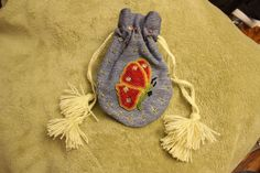 Red wing beaded butterfly medicine bag