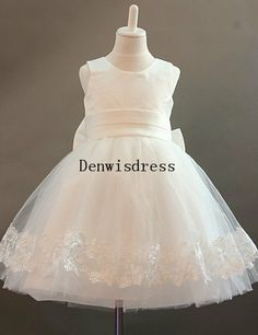 Flower Girl Dresses Kids Tulle Ivory Bow Embroidery Rustic Tutu Dresses Baby Dresses Toddler Birthday Dresses Wedding Dresses on Etsy, $75.00