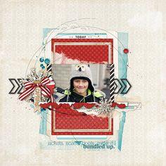 Wintery scrapbook layout by Kayleigh Wiles #shopDesignerDigitals