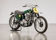 This off-road racing motorcycle, presented in the photos, is the only one like i Retro Motorcycle, Scrambler Motorcycle, Moto Bike, Motocross Racer, Motocross Bikes, British Motorcycles, Racing Motorcycles, Dirt Bike Magazine, Bike Rider