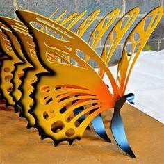metal sculpture butterflies -- Vega Metals Inc Durham NC Butterfly Park, Splash Pad, Butterfly Decorations, Black And White Pictures, Durham, Art Market, Blacksmithing, Metal Art, Garden Art