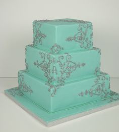 aqua silver piped wedding cake toronto by www.fortheloveofcake.ca, via Flickr