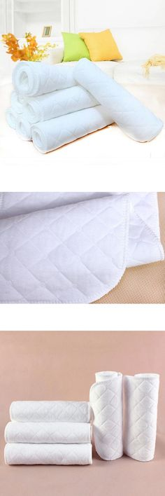 [Visit to Buy] 10pcs Reusable Baby Infant Cloth Diaper Nappy Liners Insert Cotton White Reusable Newborn Baby Nappies #Advertisement