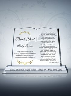 Appreciation Plaque For Teachers Educators And Professors