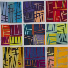 Lisa Call - Textile Paintings: All 9 new Structures textile paintings – in progress  12×12″