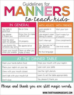 for Manners Guidelines for Manners to Teach Kids. Free printable sheet that helps parents teach kids about manners.Guidelines for Manners to Teach Kids. Free printable sheet that helps parents teach kids about manners. Parenting Advice, Kids And Parenting, Parenting Classes, Parenting Quotes, Foster Parenting, Single Parenting, Parenting Websites, Peaceful Parenting, Parenting Styles