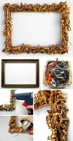 Bilderrahmen DIY Barock Bilderrahmen aus alten Spielfiguren selber machen Spielzeug Upcycling Kinderzimmer Dekoration picture frame diy do it yourself old toys golden DIY idea Upcycled Home Decor, Diy Home Decor Projects, Home Crafts, Craft Projects, Decor Crafts, Decor Diy, Diy Upcycling Projects, Repurposing, Recycled Art Projects