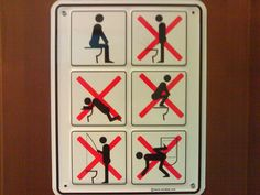 Most public restrooms around the world have the boring male/female signs to show which side you should go to. But these signs have taken toilet humour to the next level. Bathroom Humor, Bathroom Art, Bathroom Signs, Restroom Signs, Bathrooms, Bathroom Ideas, Funny Toilet Signs, Funny Signs, April Fools Pranks