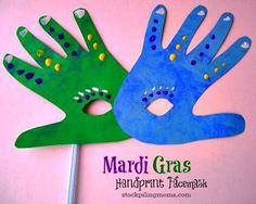 Brazil/Germany/New Orleans: Carnaval/Karneval/Mardi Gras Handprint Mask Craft Kids Crafts, Daycare Crafts, Toddler Crafts, Preschool Crafts, Craft Projects, Arts And Crafts, Craft Kids, Kids Fun, Face Masks For Kids