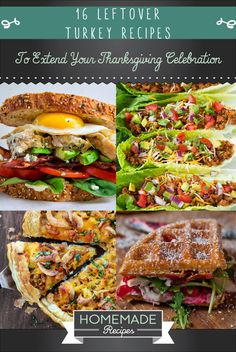 Leftover Turkey? These 16 delicious and completely different recipes of turkey will make your family ask for more! From Refreshing Salad Recipe to a Marvelous and Mouth Watering Cheesy Pizza Recipes! Check it out at HomemadeRecipes.com