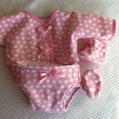BITTY BABY STARS Four Piece Outfit Also Fits 15 Inch Babydoll Baby Twins, Twin Babies, Pink Stars, Bitty Baby, Doll Dresses, Bias Tape, Diaper Bags, Doll Crafts, Girl Doll Clothes