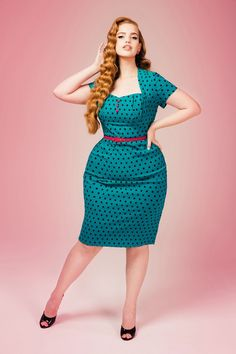 Pinup Couture Plus Size Charlotte Dress in Jade With Black Polka Dots