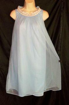 VINTAGE BLUE CHIFFON MOVIE STAR BABYDOLL NIGHTGOWN SMALL #MOVIESTAR