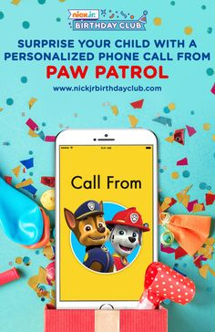 PAW Patrol is on a roll and making birthday phone calls to their fans with the Nick Jr. Birthday Club! Once you schedule your kid's personalized call from the pups, you'll get free printable party goods, kids birthday party planning ideas and hacks, and everything else you'll need to make your preschooler's party a totally PAWsome success. Make the kids puppy party of your child's dreams!