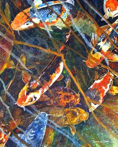 Koi Fish Blues gallery wrap canvas by DonCobbArtwork
