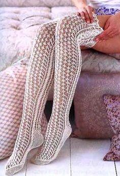 These would look ridiculous on my stumpy legs, but they're gorgeous. Favorite summer knitting/crochet pattern - Ravelry: Lace Stockings pattern by Mari Muinonen / tikru Crochet Socks, Knitting Socks, Crochet Clothes, Knit Crochet, Vogue Knitting, Sexy Socks, Cute Socks, Comfy Socks, Thigh High Socks