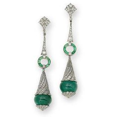 A pair of emerald and diamond pendent earrings, circa 1910