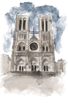 Excited to share this item from my shop: Notre Dame Cathedral watercolor print Architecture Drawing Art, Watercolor Architecture, Landscape Architecture, Paris France, France Art, Easy Watercolor, Watercolor Print, Japan Watercolor, Logo Tigre