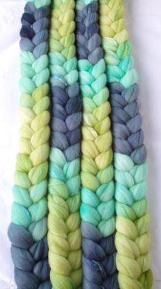Ultra soft merino wool & silk roving, handpainted, for handspinning and wet felting, 3.5oz/100g - $22