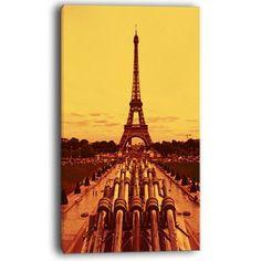 DesignArt Vintage View of Paris Eiffel Tower Paris Cityscape Graphic Art on Wrapped Canvas Size: