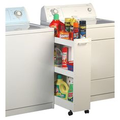 Found it at Wayfair - Laundry Caddy in White. Build a similar rolling caddy for shoes?