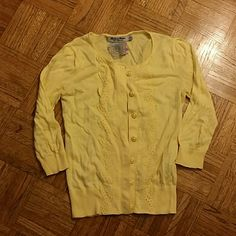 Forever 21 yellow sweater cute sweater cardigan! cropped sleeves lacey detail down the front! worn once only!! Must sell! Make offers!! womens size S Forever 21 Jackets & Coats