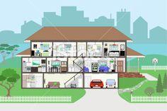cutaway living room - Google 搜索