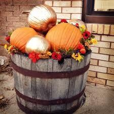 pumpkins to your whiskey barrel planters for fall. via Sublime Artistry pumpkins to your whiskey barrel planters for fall. via Sublime Artistrypumpkins to your whiskey barrel planters for fall. via Sublime Artistry Whiskey Barrel Planter, Whiskey Barrels, Bourbon Barrel, Barrel Projects, Container Gardening Vegetables, Succulent Containers, Vegetable Gardening, Succulents, Fall Planters