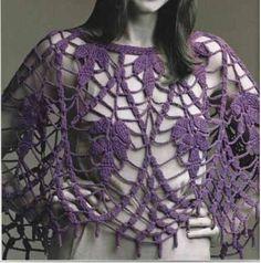 Poncho a crochet calado - Imagui