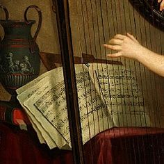 Self-Portrait Rose Adelaide Ducreux 1791 #art #artist #painting #georgian #vintage #pretty #harp #music #sheetmusic #instrument #strings #vase #green #classical #greek #interior #scene #fabric #hand by angelorrella