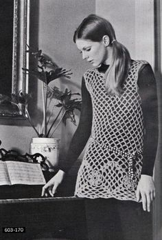 Crochet Dress or Cover Pattern 1960s Hippie Vintage Crocheting