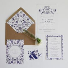 Cilita Bold Floral Wedding Invitation Suite - Invitations - Stationery | Love &Lilah