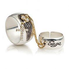 Кольцо на два пальца серебряное с золотыми вставками