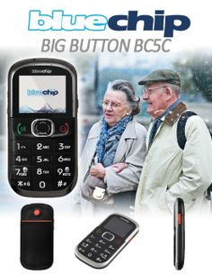 Bluechip BC5C big button phone. Designed for the elderley and people who struggle with normal phones.       - Large keypad and number display for easy usage    - SOS emergency function with dedicated button on rear    - 10 number speed-dial for one-touch calling    - Torch for safety in the dark     Integrated FM radio with digital tuner   -  Loud volume for better sound    - Includes mains charger and USB charging cable