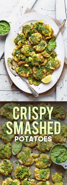 Crispy Smashed Potatoes! Smashed, roasted until crispy, then topped with a creamy garlic-herb pesto! A delicious vegan and gluten-free appetizer or snack!