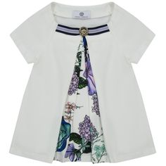 Girls White Pleated Top with Floral Print Layer and Gold Logo Pendant