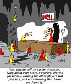 No, playing golf isn't a sin.  However lying about your score, swearing, playing for money, wishing the other players will play bad, and not returning that 7-iron you found IS.